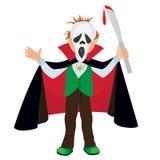 Bande dessinée drôle petit Dracula, garçon utilisant le costume de Halloween, illustration de vecteur Photo stock