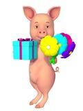 Bande dessinée du porc 3d Image libre de droits