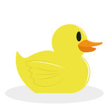 Bande dessinée Duck Isolated On White Background jaune Images libres de droits
