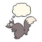 bande dessinée effrayée drôle d'écureuil avec la bulle de pensée Photos stock