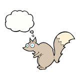 bande dessinée effrayée drôle d'écureuil avec la bulle de pensée Photographie stock libre de droits