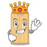 Bande dessinée en bois de mascotte de planche à découper de roi illustration de vecteur
