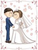Bande dessinée enceinte de vecteur d'invitation de mariage de couples Photographie stock libre de droits