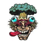Bande dessinée enthousiaste époustouflante de vecteur d'explosion de tête d'homme Photographie stock