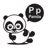 Bande dessinée et alphabet de panda de P pour des enfants à l'étude et au colori Photo stock