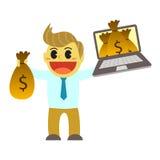 Bande dessinée et argent d'Officeman d'instrument Photo libre de droits