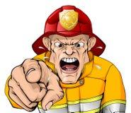 Bande dessinée fâchée de pompier illustration stock