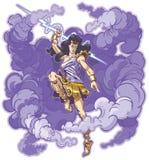 Bande dessinée femelle de vecteur de mascotte de déesse ou de titan de tonnerre illustration libre de droits
