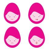 Bande dessinée femelle Smiley Faces Image libre de droits