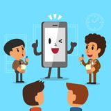 Bande dessinée gens d'affaires de aide d'un smartphone à travailler Photographie stock