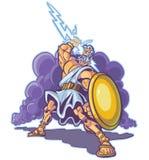 Bande dessinée grecque de vecteur de mascotte de Dieu ou de titan de tonnerre illustration libre de droits
