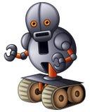 Bande dessinée grise de robot d'isolement sur le fond blanc illustration de vecteur