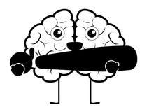 Bande dessin?e heureuse de cerveau avec une marque d'admiration illustration libre de droits