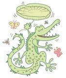 Bande dessinée heureuse de crocodile Images libres de droits