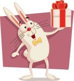Bande dessinée heureuse de Pâques Bunny Holding Gift Box Vector Photographie stock
