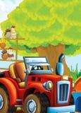 Bande dessinée heureuse et scène d'asile de fous avec le tracteur - voiture pour différentes tâches Images libres de droits