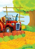Bande dessinée heureuse et scène d'asile de fous avec le tracteur - voiture pour différentes tâches Photo stock