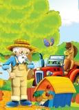 Bande dessinée heureuse et scène d'asile de fous avec le tracteur - voiture pour différentes tâches Images stock