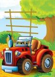 Bande dessinée heureuse et scène d'asile de fous avec le tracteur - voiture pour différentes tâches Image stock