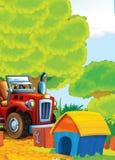 Bande dessinée heureuse et scène d'asile de fous avec le tracteur - voiture pour différentes tâches Photos stock