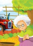 Bande dessinée heureuse et scène d'asile de fous avec le tracteur - voiture pour différentes tâches Image libre de droits