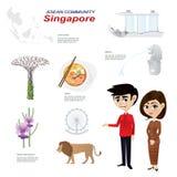 Bande dessinée infographic de la communauté d'ASEAN de Singapour Images libres de droits