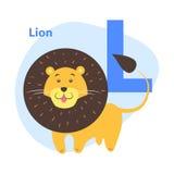 Bande dessinée Lion Letter L d'icône d'alphabet du ` s d'enfants Photographie stock