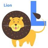 Bande dessinée Lion Letter L d'icône d'alphabet des enfants s Image libre de droits