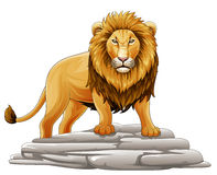 Bande dessinée Lion Mascot Photos stock