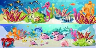 Bande dessinée Marine Life Horizontal Banners intelligente Images stock