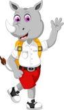 Bande dessinée masculine drôle de rhinocéros allant à l'école illustration stock