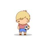 Bande dessinée mignonne clignant de l'oeil le petit garçon avec un football dans des ses mains Photographie stock libre de droits