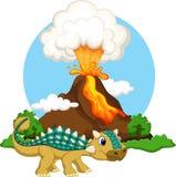 Bande dessinée mignonne d'ankylosaurus Photos libres de droits