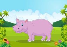 Bande dessinée mignonne d'hippopotame dans la jungle Image stock