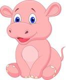 Bande dessinée mignonne d'hippopotame de bébé illustration stock
