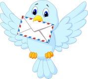 Bande dessinée mignonne d'oiseau fournissant la lettre Photographie stock libre de droits