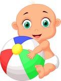 Bande dessinée mignonne de bébé tenant la boule colorée illustration de vecteur