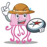Bande dessinée mignonne de caractère de méduses d'explorateur illustration libre de droits