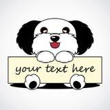 Bande dessinée mignonne de chien avec le label Image stock