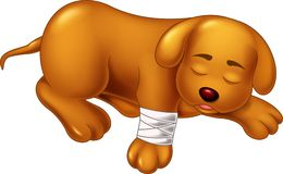 Bande dessinée mignonne de chien en difficulté et dormante avec le sourire illustration libre de droits