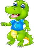 Bande dessinée mignonne de crocodile posant avec rire et onduler illustration stock