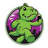 Bande dessinée mignonne de dinosaure vert avec le temaki Images stock