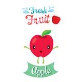 Bande dessinée mignonne de fruit d'Apple, bannière, logo Illustration Stock