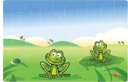 Bande dessinée mignonne de grenouilles avec le fond Images stock