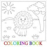 Bande dessinée mignonne de lion avec l'illustration de coeur Couleur et découpe, livre de coloriage Photo stock