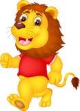 Bande dessinée mignonne de lion fonctionnant avec rire et onduler illustration libre de droits