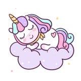 Bande dessinée mignonne de poney de vecteur de licorne sur le nuage, décoration de crèche, temps de sommeil magique pour l'animal illustration libre de droits