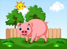 Bande dessinée mignonne de porc Images libres de droits