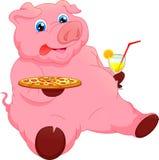 Bande dessinée mignonne de porc avec des nourritures Image stock