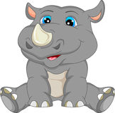 Bande dessinée mignonne de rhinocéros de bébé Image libre de droits